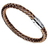 Onefeart Edelstahl Klassischer Stil Weberei Leder Bangle Armband für Herren Junge 20.5CM Brown