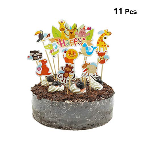 Toyvian Lindo Zoo Cake Toppers Selecciones Selva Animales Cupcake Toppers para niños...