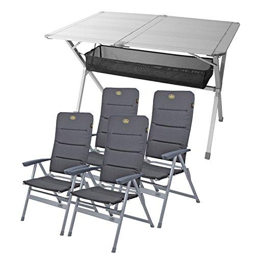 """Camping Möbel Set Tisch + 4 Stühle \""""Grenoble\"""" , 1x Tisch \""""Titan Space\"""" ideal für Wohnwagen und Wohnmobil"""