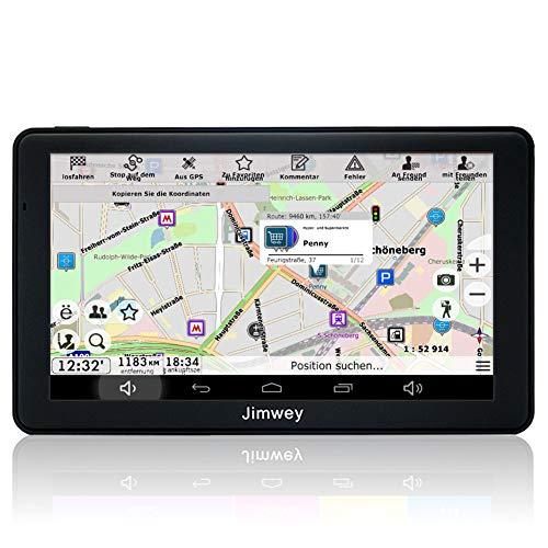 Jimwey GPS Navi Navigation für Auto LKW PKW KFZ 7 Zoll Android Navigationsgerät Bluetooth 16GB Online Kostenloses Kartenupdate POI Blitzerwarnung Sprachführung Spurassistent 2018 EU UK US Karte