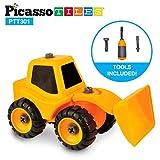 PicassoTiles PTT301 DIY Bau Frontlader Traktor Lkw Spielzeug Auto Set Bulldozer Demontage / Take-A-Teil Spielzeug Baukasten Große Teile, Reversible Schraubendreher Muttern & Schrauben