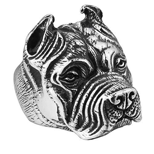 XBYBEI Vintage Edelstahl Biker Mens Bulldog Ring Shar Pei Dog Band Schwarz Silber Gold 3 Farbe -