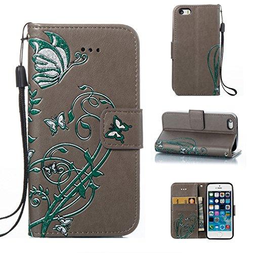 JIALUN-Telefon Fall Druck Farbe Schmetterling Blumen mit Lanyard Card Slot, Eingebaute Halterung Flat Phone Cover für IPhone 5 & 5s & SE ( Color : Rose ) Gray