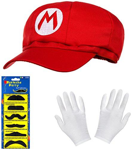 (Super Mario Mütze rot im Komplettset mit weißen Handschuhen und Klebe-Bärten für Erwachsene und Kinder Karneval Fasching Motto Party Verkleidung Kostüm Mützen Hut Cap Herren Damen Kappe)