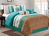 Best Queen-comforter-sets - Queen : Modern 7 Piece Bedding TURQUOISE BLUE Review