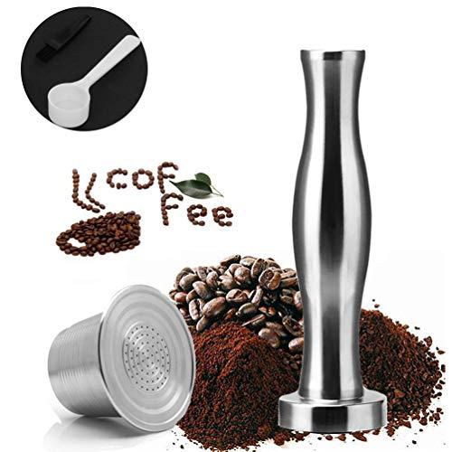Edelstahl Kaffee Kapseln & Kaffee-Tamper, Nachfüllbare Säurebeständig Korrosionsbeständig Umweltfreundlich für Nespresso-Maschine