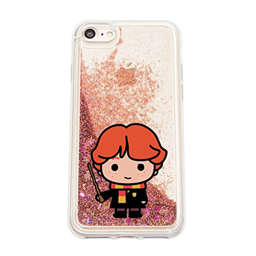 finoo | Iphone SE Flüssige Liquid Rose Goldene Glitzer Bling Bling Handy-Hülle | Rundum Silikon Schutz-hülle + Muster | Weicher TPU Bumper Case Cover | Harry Potter Portrait Ron Weasly Chibi Stab transparent