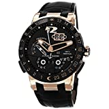 Ulysse Nardin Mens 43mm Leather Band Rose Gold Case Automatic Watch 326-03