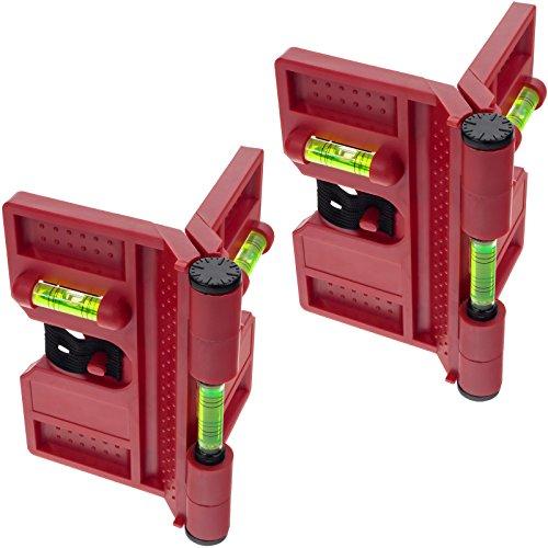 2x Smartfox Pfosten Winkel Wasserwaage Montagehilfe für Pfostenträger, Bodenhülsen und Metallpfosten magnetisch in rot 135mm inkl. Spannband