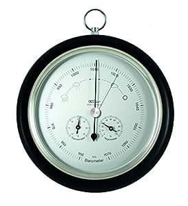 Baromètre combinée avec thermomètre et un hygromètre, bois véritable noir, Ø 200 mm