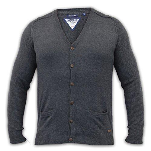 Threadbare Herren Strickpullover Sweater Oberteil Geknöpft Freizeit Winter Anthrazit