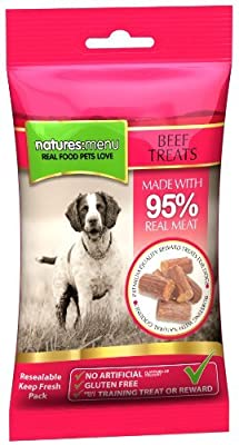 3 x Packs of Real Beef mini treats (for small dogs) 60g packs - Natures Menu - Made with 95% REAL MEAT - Wheat & Gluten Free