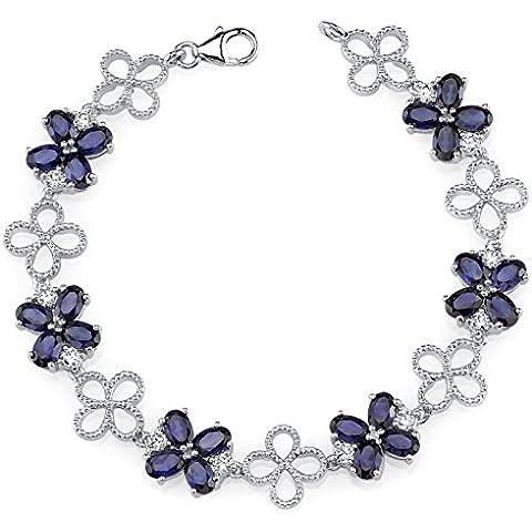 Revoni-Catenina con pendente a forma di fiore antico, con zaffiri sintetici a taglio ovale& Bracciale in argento Sterling con zirconi bianchi