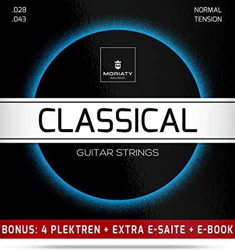 Gitarrensaiten Konzertgitarre + 4 Plektren + Extra hohe E-Saite + eBook ★ TESTSIEGER 2019¹ ★ Premium Nylon Saiten für klassische Gitarre & Akustikgitarre (6 Saiten-Set)
