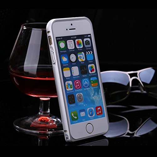 FindaGift iPhone SE 5SE 5 5S Frame Hülle, Leicht Hart Metall Hippocampal Schnalle Frame Case Anti-Kratzer Seitenschutz Bumper Cover für iPhone SE 5SE 5 5S Frame Schwarz Silber