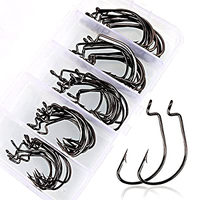 VIPMOON 100pcs/50pcs Fishing Hooks High Carbon Steel Worm Fish Hooks with Plastic Box by VIPMOON