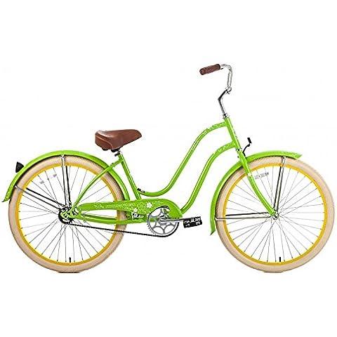 Steel Frame, Micargi Sakura 1-speed (Green/yellow) Women's 26 Beach Cruiser Bike by Micargi