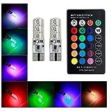 Areout - Lampadine LED multicolore per interni auto con telecomando T10, 5050-6SMD RGB