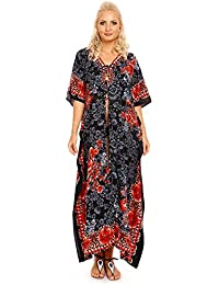 1f18f46483 Looking Glam Ladies Full Length Oversized Maxi Kimono Tunic Kaftan Gown  Dress