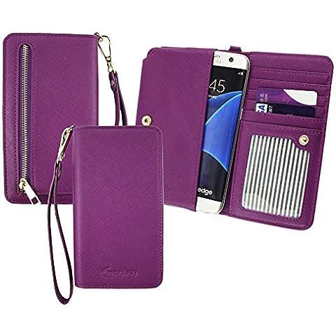 Emartbuy® Púrpura Cuero PU Embrague Bolso Bolsa Manga Carcasa Case ( Talla 3XL ) Con Acuñar Bolsillo, Tarjeta Las Ranuras y Desmontable Muñeca Correa apto para MyWigo Magnum 2 Smartphone 5 Inch