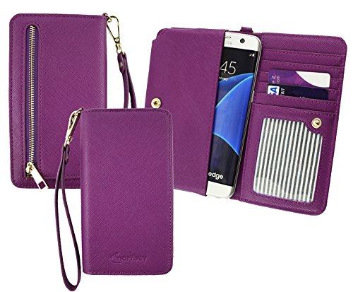 Emartbuy® Lila PU Leder Kupplung Geldbörse Hülle Tasche Sleeve (Größe 3XL) Mit Münzfach, Kartensteckplätze und Abnehmbare Handschlaufe Geeignet Für Slok C2 Dual SIM Smartphone
