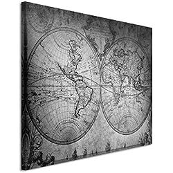 50x 70cm Cuadro Foto lienzo en negro blanco vintage mapa del mundo 1733