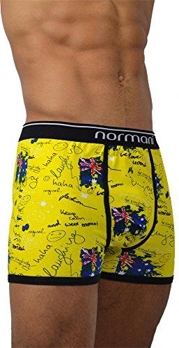6 x normani® Herren Style Boxershorts aus Baumwolle mit Elasthan im 6er Pack Crazy Yellow Britannia