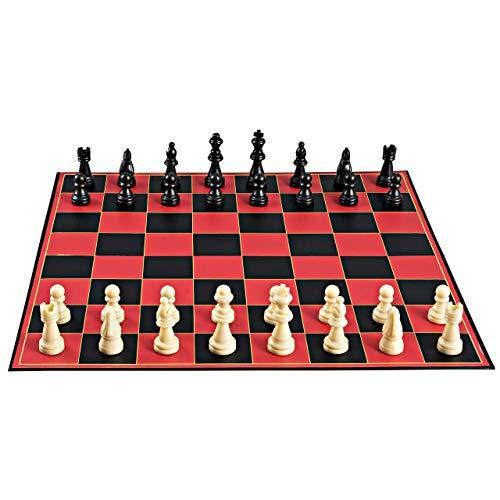 ssisches Schachbrettspiel, mit Super Durable Board, bestes Faltbrettspiel für die ganze Familie, rot Schwarze Haut ()