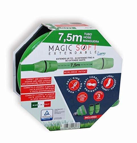Idroeasy Magic Soft 7.5 mètres, le tuyau d'arrosage extensible qui s'étend jusqu'à 2,5 fois sa longueur d'origine. Made in Italy