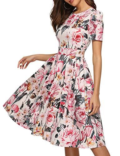 dd74327f90 JOJJJOJ Women's 50s Floral Cocktail Vintage Retro Dresses Elegant Midi  Evening Dress 3/4 Sleeves
