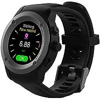 Versión Mejorada Reloj GPS para hombre y mujer, multideportivo, con monitor de frecuencia cardíaca y notificaciones inteligentes, compatible con iOS 8.0 y Android 4.4 y superiores, estación de carga de tiempo de espera de 2 a 3 días (negro)