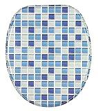 WC Sitz, hochwertige Oberfläche, einfache Montage, stabile Scharniere, Mosaik Blau