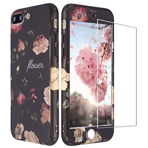 iPhone 8 Plus Hülle Blumen, iPhone 7 Plus Hülle 360 Grad mit Panzerglas, ZXK CO 3 in 1 Hart PC Hülle mit Panzerglas Full Body Komplettschutz Schutzhülle für iPhone 7 Plus/8 Plus 5,5