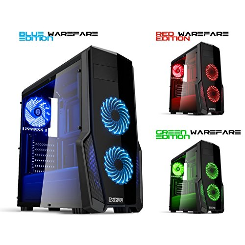 EMPIRE Gaming PC-Gehäuse Gaming Warfare schwarz LED – USB 3.0 – 3 Lüfter 120 mm LED blau blau