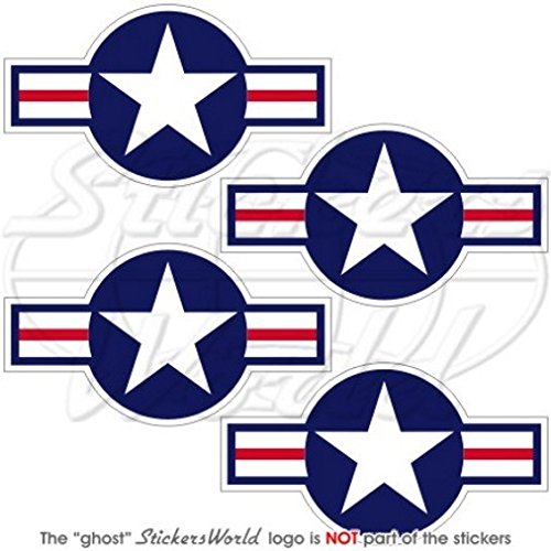 Streitkräfte der Vereinigten Staaten Aircraft Roundels USAF USMC US Navy 7,1cm (70mm) Vinyl Sticker, Aufkleber X4