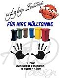 Recycling Design Set***Handabdrücke*** - Mülltonnenaufkleber/ Sticker/ Tattoo - frei wählbare Wunschfolienfarbe!