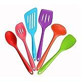 Mirorlen Silikon Pfannenwender Küchenhelfer Set 6-teiliges,bestehend aus Turner,Schaumlöffel,Schöpfkelle,Löffel,Löffel Spatel,Spoonula,Perfekt Küchenbesteck-Set(Bunt)