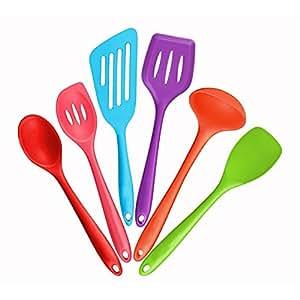 mirorlen cadeau 6 ustensiles de cuisine silicone cuill re fente louche spatule cuill re. Black Bedroom Furniture Sets. Home Design Ideas