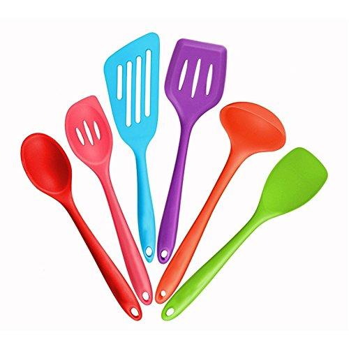Mirorlen Silikon Pfannenwender Küchenhelfer Set 6-teiliges,bestehend aus Turner,Schaumlöffel,Schöpfkelle,Löffel,Löffel Spatel,Spoonula,Perfekt Küchenbesteck-Set(Bunt) Spoonula Set