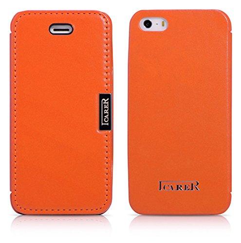 Luxus Tasche für Apple iPhone SE , iPhone 5S und iPhone 5 / Case Außenseite aus Echt-Leder / Innenseite aus Textil / Schutz-Hülle seitlich aufklappbar / ultra-slim Cover / Farbe: Orange