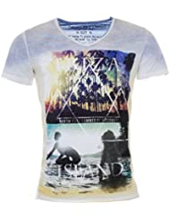 Key Largo Herren vintage used destroyed Look Ibiza T-Shirt Island v-neck tiefer V-Ausschnitt slim fit tailliert T00596