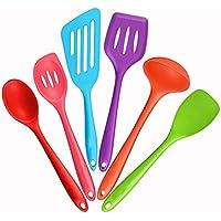 Mirorlen Silicone Utensili da cucina Set-6 Pezzi conTurner,Schiumarola,Mestolo,Cucchiaio,Cucchiaio (Facile Loop Turner)