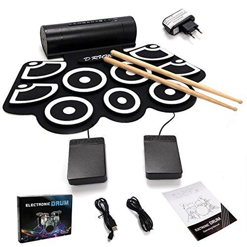 COSTWAY 9 Pad elektronische Trommel E-Drum Elektronik Drum Instrument Faltbar Schlagzeug + 2 Fußped (Elektronische Trommel)