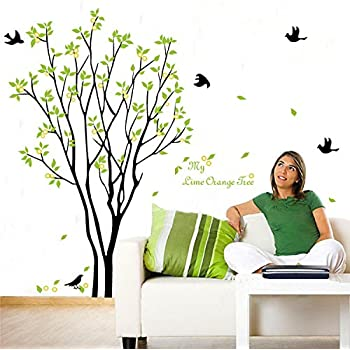 5 X BestOfferBuy Lime Orange Tree Falling Leaves Birds Wall Sticker Decal Part 60