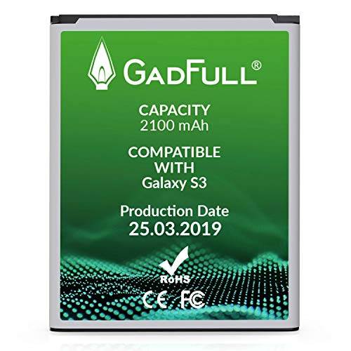 GadFull Akku für Samsung Galaxy S3 | 2019 Baujahr | Entspricht Dem Original EB-L1G6LLU | Lithium-Ionen-Akku der Modelle Galaxy S3 i9300 | Galaxy S3 LTE i9305 | Ersatz Handy-Akku für Ihr Smartphone