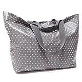 Sugarbag - XXL Shopper, große Strandtasche grau mit weißen Sternen, Schultertasche, Badetasche