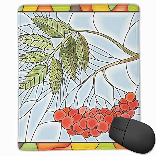Mouse Mat Stitched Edges, Rowan Branch Motif On A Stained Glass Frame Noel Season Berries Winter Theme,Gaming Mouse Pad Non-Slip Rubber Base