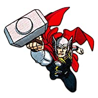 Iron on Patches - Marvel Avengers Thor Comic Children - Colorful - 9,2x7,1cm - Application Embroided Patch Badges