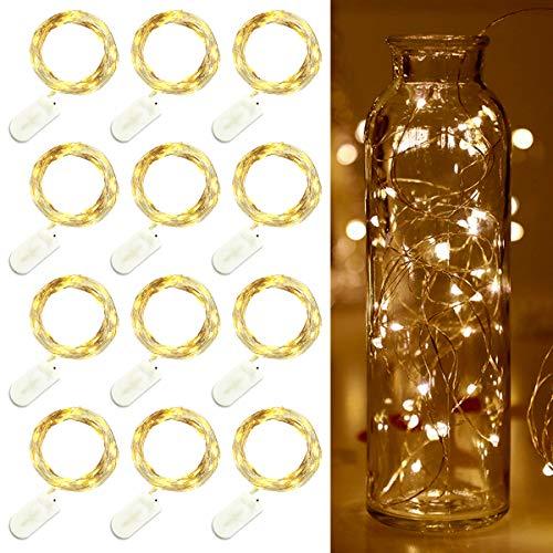 LED Lichterketten 20 LEDs Draht Lichterkette mit Knopf Batterie Sternenlichter Weihnachtsfeier Hochzeit Flasche Tischdekoration Warmweiß 12er Pack