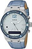 GUESS Women's Connect Smartwatch with Amazon Alexa and Genuine Leather Strap Buckle - iOS and Android Compatible - Blue